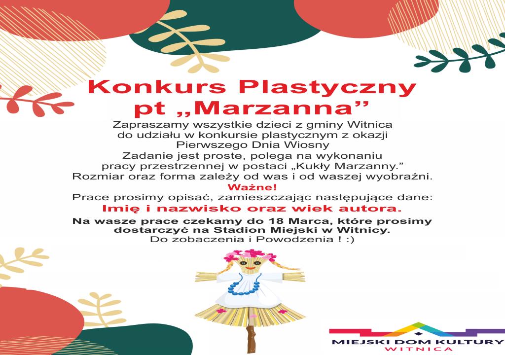 """Konkurs plastyczny pt. """"Marzanna"""""""